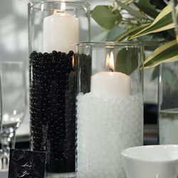Black and White Wedding Table Decorations - can make any colour