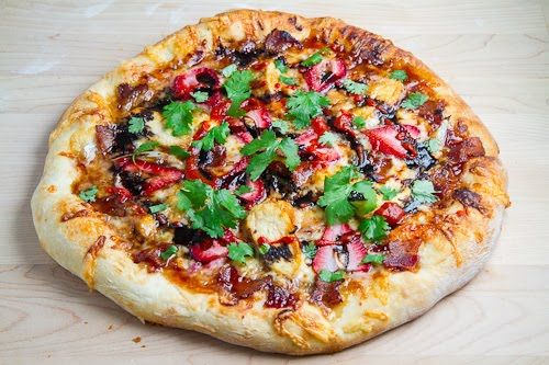 ... Strawberry and Chicken Pizza with Sweet Onions and Smoked Bacon