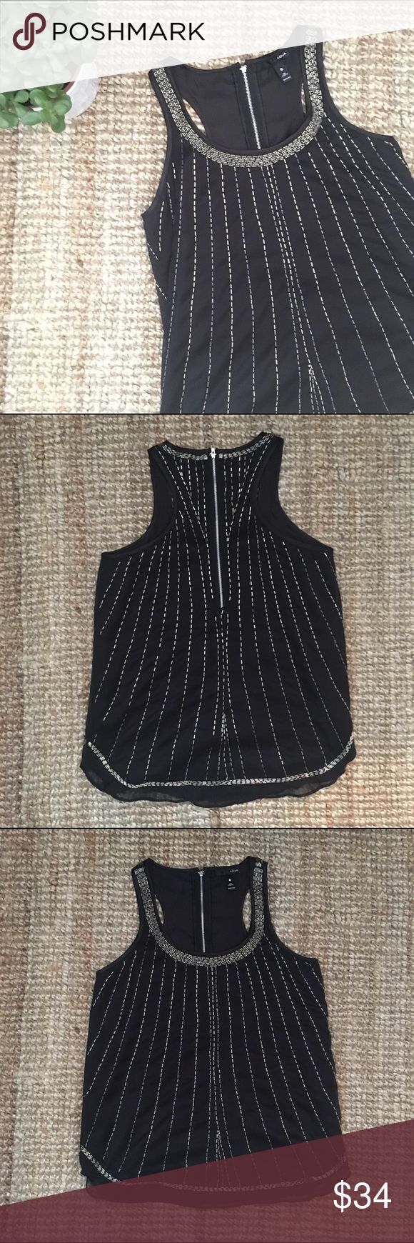 Bloomingdale's AQUA black beaded top. Size S. Slimming vertical beading on this black going out top from Bloomingdale's. Fully lined, exposed back zipper. Racerback. Aqua Tops Tank Tops