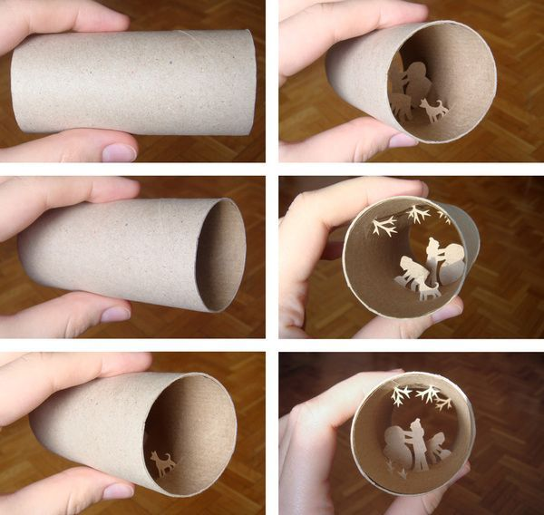Anastassia Elias , primarily a painter and illustrator, carves tiny scenes out of the inside of each brown paper roll, leaving the outside i...