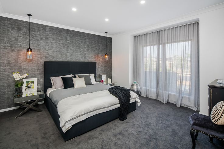 The Alexander Display by Adenbrook Homes QLD. http://www.adenbrookhomes.com.au/display-properties/alexander-at-ecco-ripley-estate/ #weeklyhometrends #design #styling #decor #homeideas #bedroom #inspiration #sheercurtains #wallpaper #featurewall #greytones #interiors #pendantlights #Adenbrookhomes