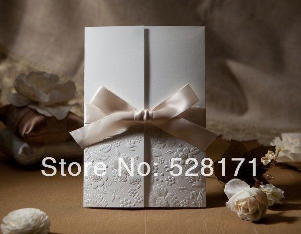 Три анти-кратным бумага свадьба приглашение с лента бант ( 200 шт)