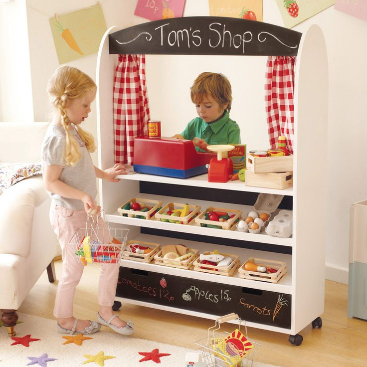 Play Shop & Theatre - This is one of our best productions yet.  This fabulous play shop for kids will inspire hours of pretend play, but if and when your children tire of playing shops they can put on a show instead!  Features: There is a very handy drawer at the bottom for storage and it has castors so you can wheel it away at the end of the day!