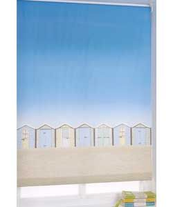 Beach Hut 4ft Roller Blind - Multicoloured.