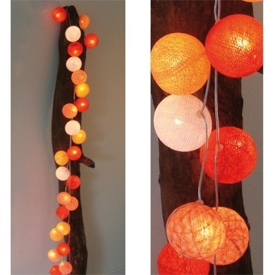 Lichtslinger Oranje 35 bollen - Cotton Ball Lights