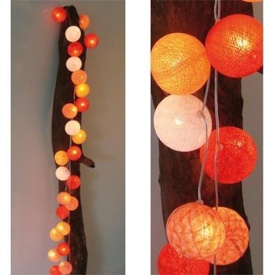 Lichtslinger Oranje 35 bollen - Cotton Ball Lights