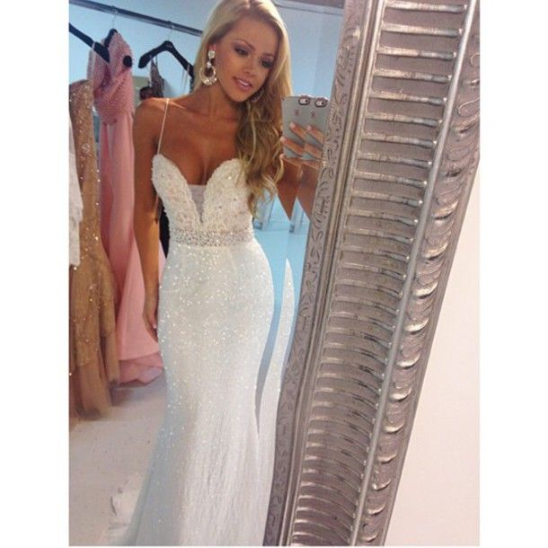 Sherri Hill 2015 white shimmer wedding dress, bridal, prom dresses, long evening gown