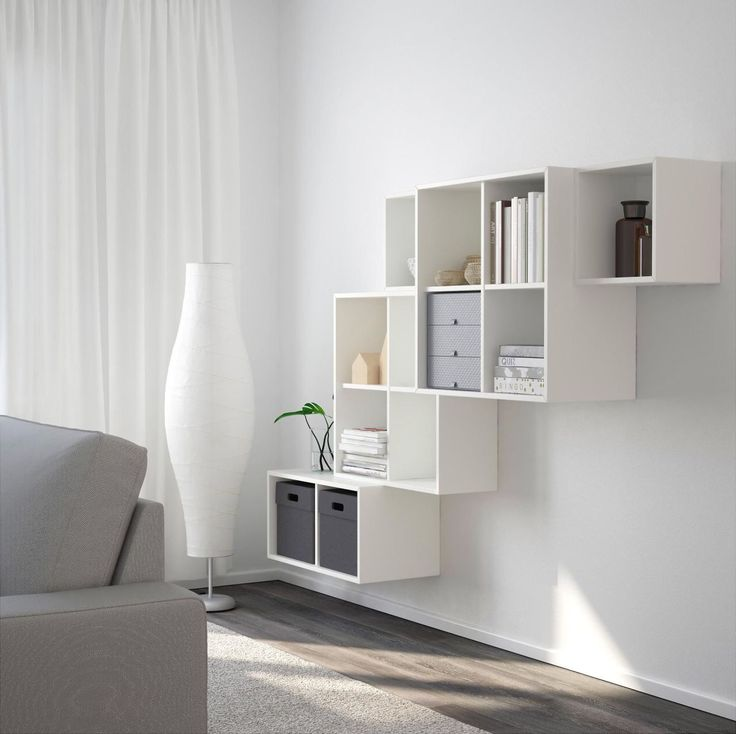 EKET Wall-Mounted Cabinet  If you want your storage to make a statement, look no further than this asymmetric solution ($195, ikea.com). You can still stack your books and papers out of the way, but in an edgy and modern style.
