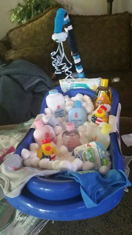 baby shower gift baby bath basket infant tub filled with cotton balls for