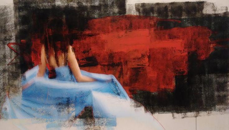 """Nouveau tableau de Joann Côté """"Pour Almodovar"""", 2018 Technique mixte sur toile, 38 x 68 po."""