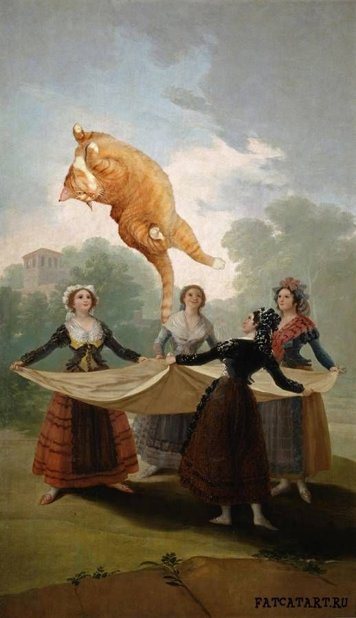 Francisco de Goya y Lucientes, Forget the Straw Manikin. by Russian artist, Svetlana Petrova. 25 Famous Paintings Photobombed By A Fat Cat.