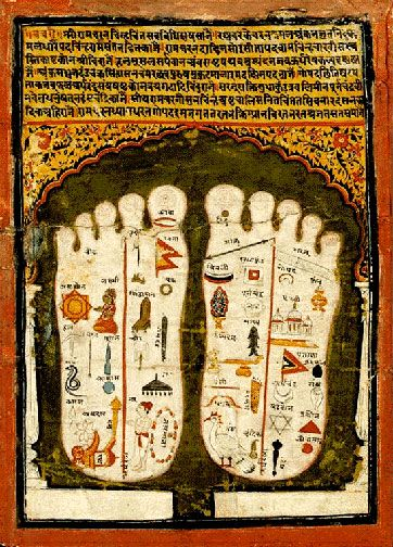 Lord Vishnu's Lotus Feet, indian minature
