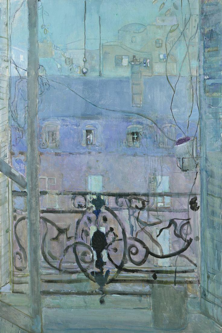 Musée de l'Abbaye Saint-Claude PIERRE LESIEUR emFenêtre au toit bleu 1983em Huile sur toile Collection particulière Paris