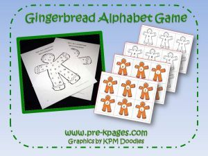 Gingerbread upper and lower case alphabet game via www.pre-kpages.com
