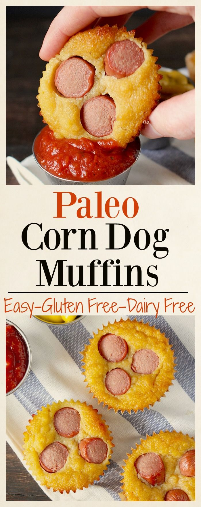 Paleo Corn Dog Muffins- 5 uncured hotdogs (Applegate); 1/2 cup almond flour; 1/2 cup coconut flour; 2 tablespoons ghee, melted; 2 tablespoons coconut oil, melted; 2 tablespoons honey; 1/2 cup cashew milk, or other non-dairy milk; 3 eggs; ¼ teaspoon salt; 1/2 teaspoon baking soda