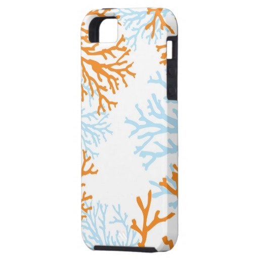 {Science-Themed Gifts} orange & blue coral print iPhone 5 case
