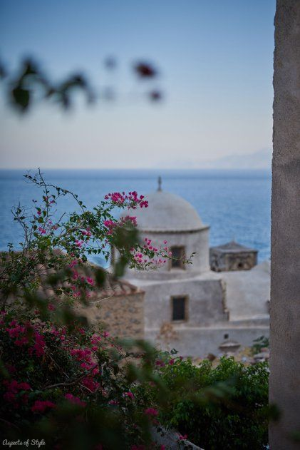 white and blue with a dash of bougainvilleas in Monemvasia, Greece