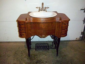 Antique sewing machine converted to a bathroom vanity: Antique Sewing Machine Ideas, Sewingmachine, Machine Vanity, Antique Sewing Machines, Treadle Sewing Machine Ideas, Vanities, Treadle Sewing Machines, Master Bathroom, Antiques