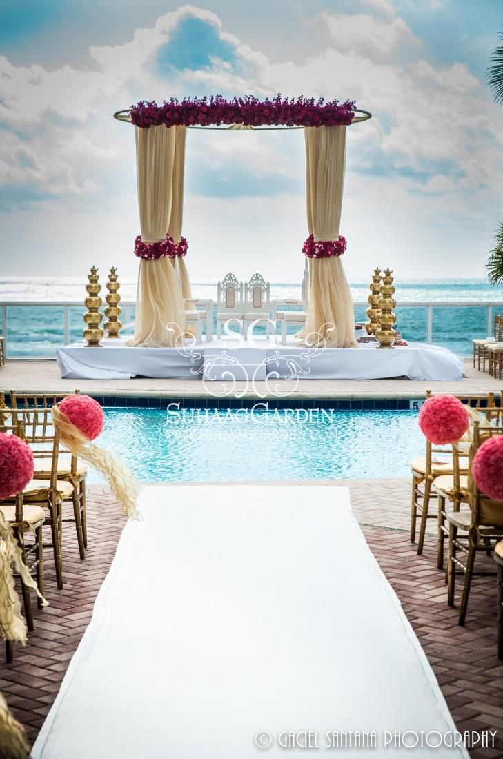 Suhaag Garden, Indian Destination Wedding Miami, Fabric Mandap, Beach Mandap, Trump International Miami