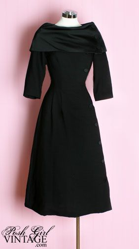 1950's Black Button Dress