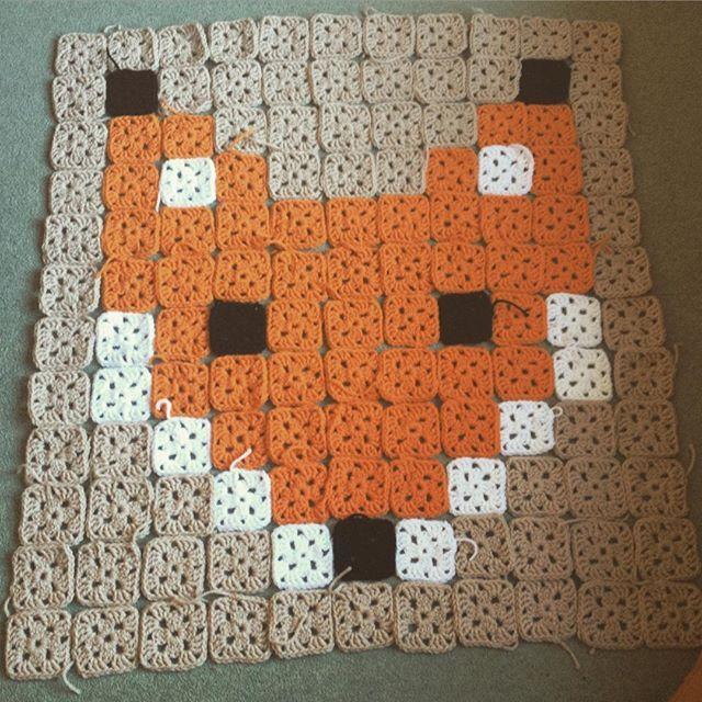 Fox granny square blanket (almost done) by freja_m_