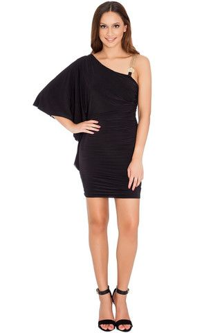 Chelsea One-Shouldered Batwing Mini Dress - Black – Juicy Secrets