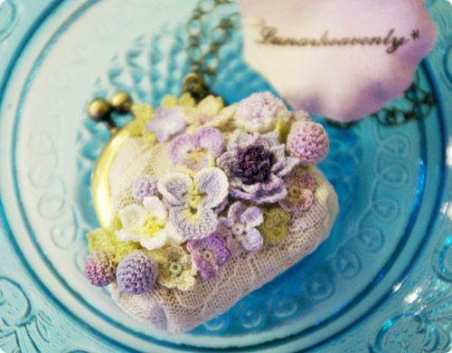 【Lunarheavenly】お花のがま口(紫)/ネックレス - 【惑星座】 作家・ハンドメイド雑貨 アンティーク 通販ショップ