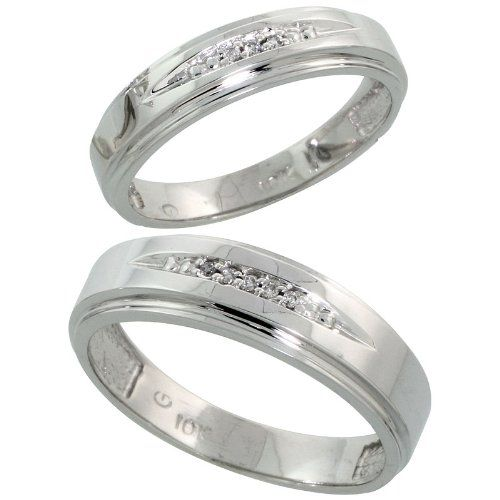 Cute k White Gold Diamond Wedding Rings Set for him mm and her mm