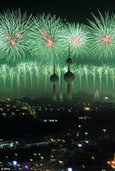 These green fireworks would be enough to light up anyone's evening in Kuwait!