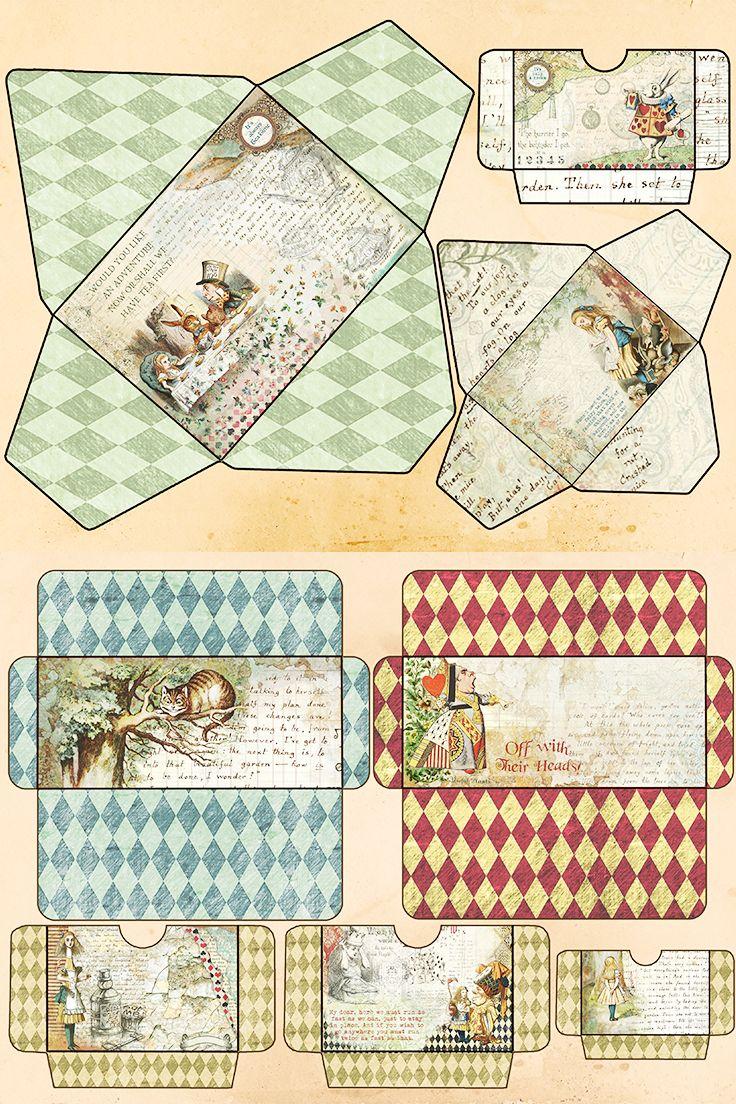 Alice In Wonderland Printable Envelopes And Pockets 16 Elements Junk Journaling Embellishment Tuck Spots Vintage Ephemera In 2020 Alice In Wonderland Printable Envelope Vintage Ephemera