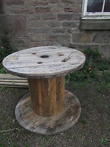 large wooden cable drum shabby chic coffee table patio garden furniture