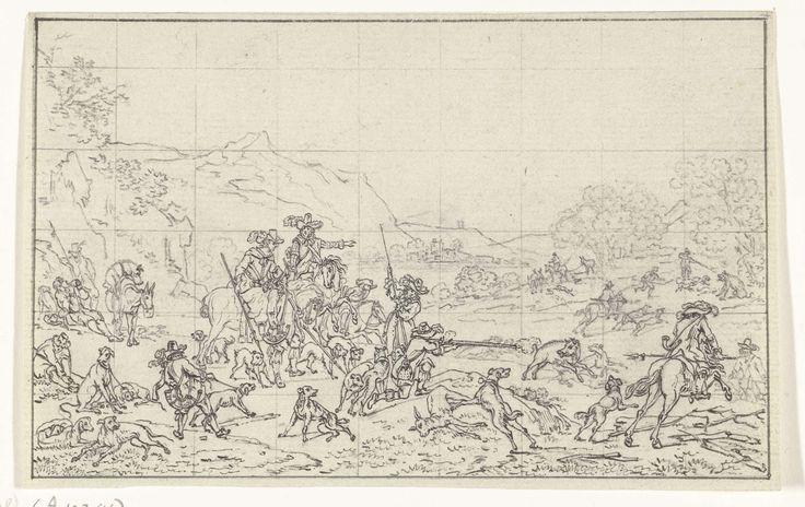 Zwijnenjacht, Joannes Bemme, Nicolaes Pietersz. Berchem, 1800 - 1841