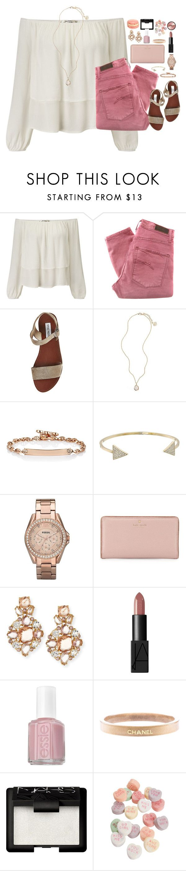 """""""'Cause I'm so sick of love songs, so tired of tears So done with wishing you were still here Said I'm so sick of love songs, so sad and slow So why can't I turn off the radio?"""" by kaley-ii ❤ liked on Polyvore featuring Miss Selfridge, Nobody Denim, Steve Madden, Kendra Scott, Hoorsenbuhs, Michael Kors, FOSSIL, Kate Spade, NARS Cosmetics and Essie"""