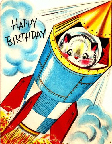 Vintage Birthday Card Space Cat Astronaut Rocketship