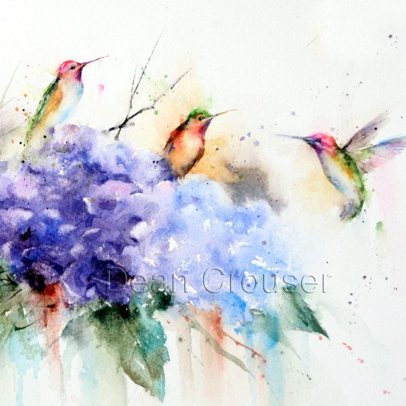 HUMMINGBIRDS and FLOWERS Watercolor Print by Dean Crouser
