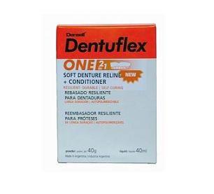 ONE - 2 EN 1• Ideal para pacientes con prótesis removibles acrílicas nuevas • Facilita la adaptación y mejora los resultados finales • Permanece como acondicionador de tejidos blando al inicio. Luego de la adaptación de los tejidos se mantiene resiliente • Puede renovarse cada 6 meses o reemplazarlo por Dentuflex Hard según el criterio del profesional • Evita el uso de los adhesivos para prótesis • Avío 40 ml líquido + 40 g polvo + Dentuflex Seal +  Accesorios - Cod 1357