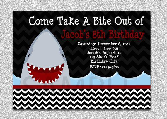 Shark Birthday Invitation Shark Birthday Party Invitation