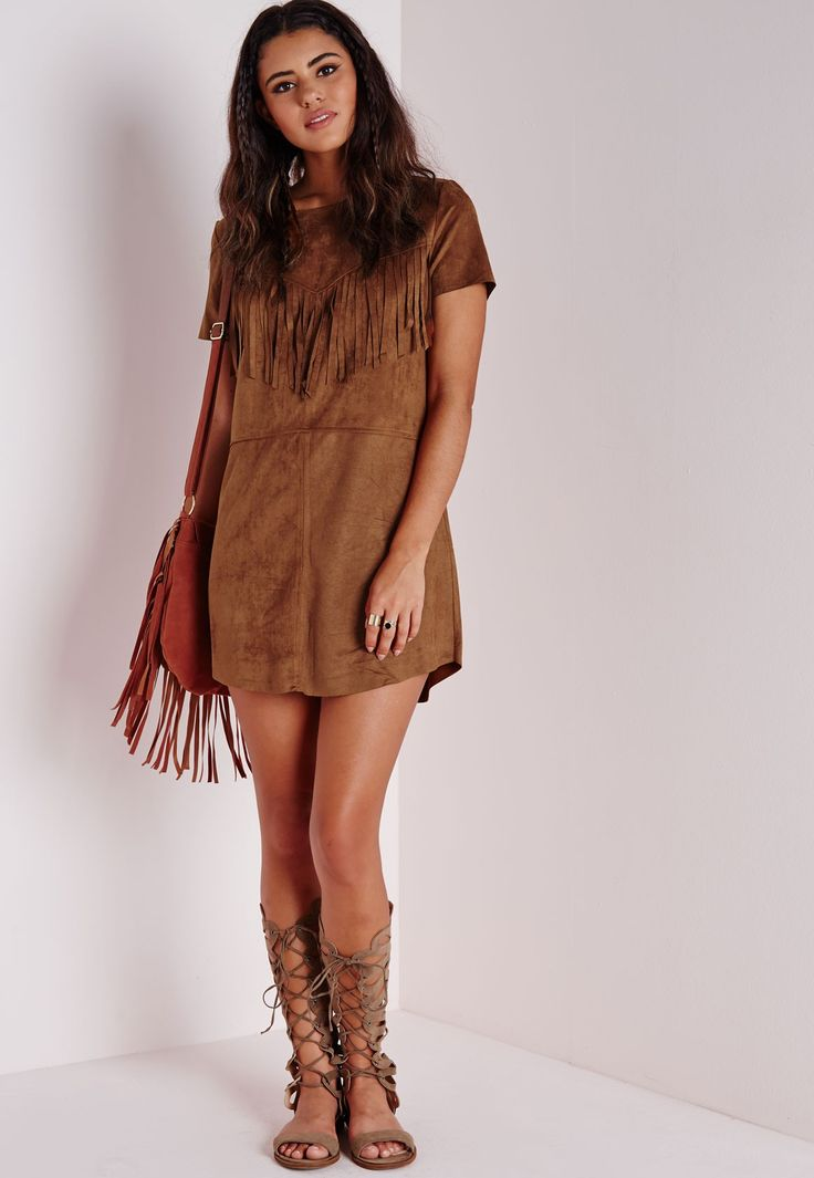 Missguided - Short Sleeve Faux Suede Tassel Shift Dress Tan Red Indian/Native American Halloween costume idea