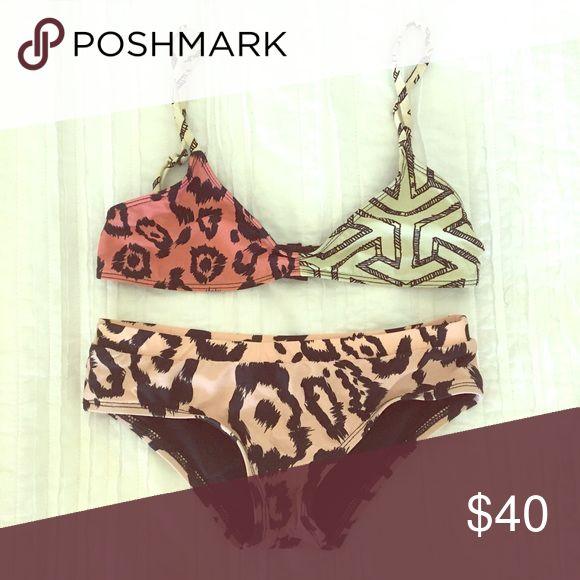 Tavik Swimwear bikini set Leopard print patchwork style bikini set by Tavik Swimwear size XS Tavik Swim Bikinis