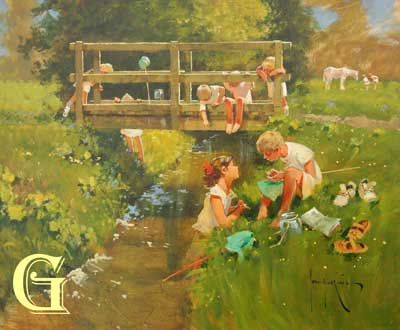 John Haskins, original painting, FISHING FOR TIDDLERS