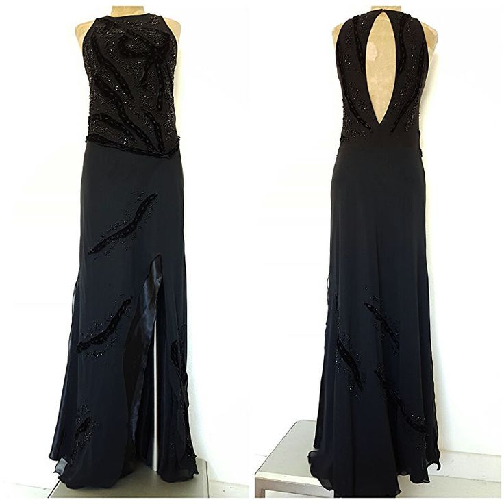 Formal Dress Size Medium Beaded Long Black Open Back Sheer Cocktail Party #Mica #Sexy #Formal