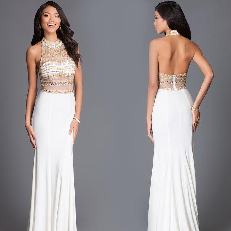 Temptation Long Jewel and Sheer Halter Prom Dress