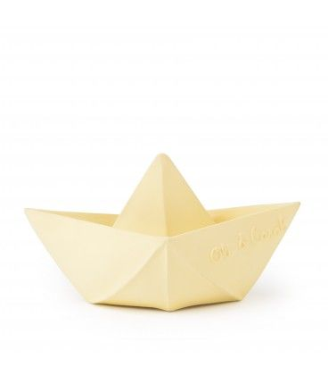 Oli & Carol Natural Rubber Origami Boat Bath Toy VANILLA. Made from 100% hevea rubber, no holes for bacteria to hide and grow! Chewable and squishable!