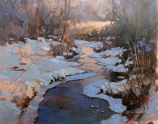 """Last Light on Wyanett Creek by Barbara Jaenicke Oil ~ 11"""" x 14"""""""