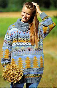 The Metsä Kukkii sweater by textile artist Sirkka Könönen, Finland. Published and released as material kit in 90's. See online at Taito Pirkanmaa crafts store.