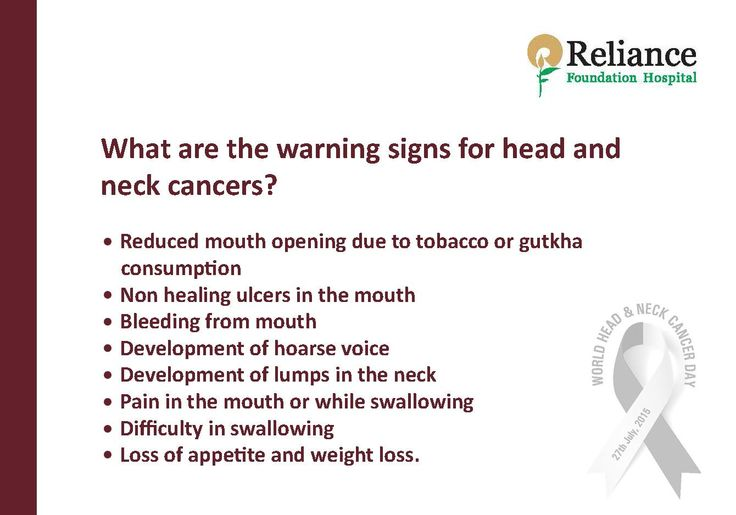 What Are The Warning Signs For Head And Neck Cancers?  • Reduced mouth opening due to tobacco or gutkha consumption • Non healing ulcers in the mouth • Bleeding from mouth • Development of hoarse voice • Development of lumps in the neck • Pain in the mouth or while swallowing • Difficulty in swallowing • Loss of appetite and weight loss.  #WorldHeadandNeckCancerDay #RespectForLife: RFHospital.Org