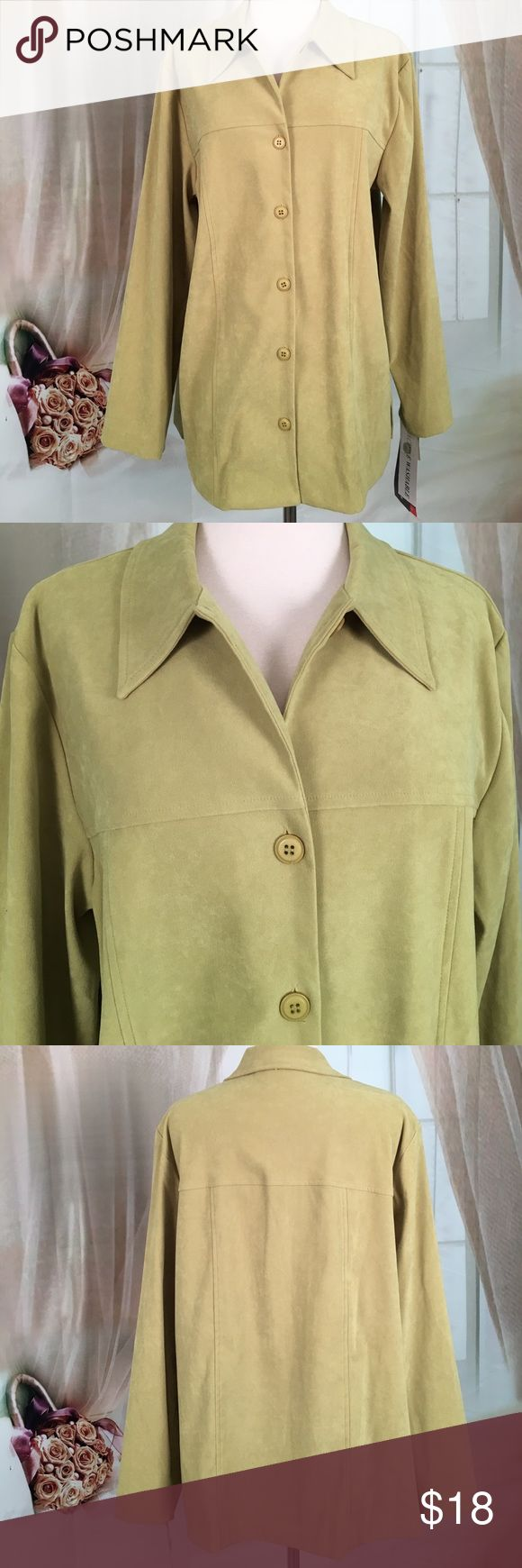 🆕 Sag Harbor Green Long Sleeved Blouse Beautiful green longsleeved blouse. Feels like suede, very soft. Could also be used as a blazer or a light jacket. 97% polyester and 3% spandex.  New with tags.  Size 14.  Bust measured flat armpit to armpit 22 inches in length 29 inches.  TB432 LOC-2 Sag Harbor Tops Blouses