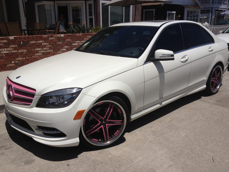 White mercedes benz with pink accessories girly pink for Pink mercedes benz