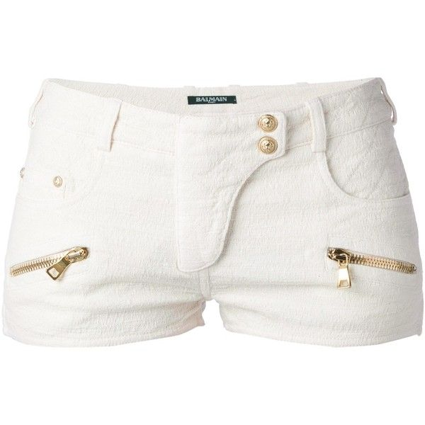BALMAIN quilted shorts (53.295 RUB) found on Polyvore featuring shorts, bottoms, pants, short, balmain, balmain shorts, short shorts, white shorts and white short shorts