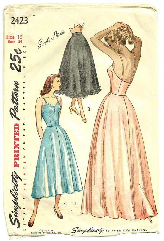 "Vintage Sewing Pattern Ladies' Slip 1940s Simplicity 2423 34"" Bust"